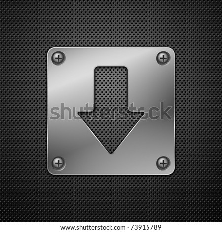 Abstract metal background. Download sign.Vector illustration. - stock vector