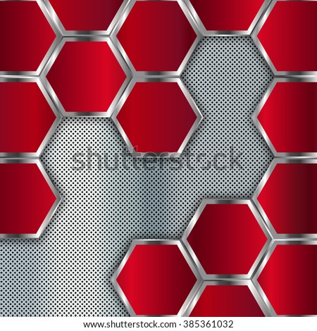 Abstract metal background. Geometric background with hexagons. Vector design template - stock vector