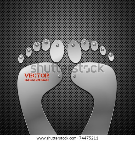 Abstract metal background with footprint. Vector illustration. - stock vector
