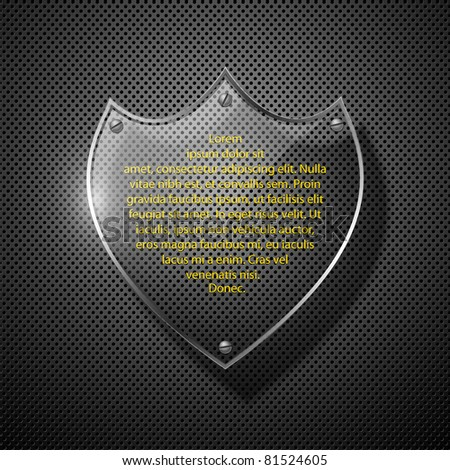 Abstract metal background with glass shield. Vector illustration. - stock vector