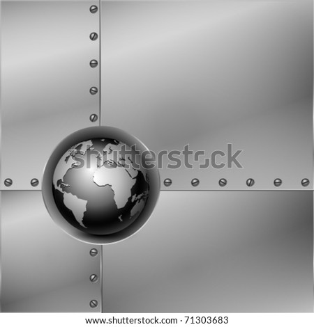 Abstract metal background with globe. Vector illustration. - stock vector