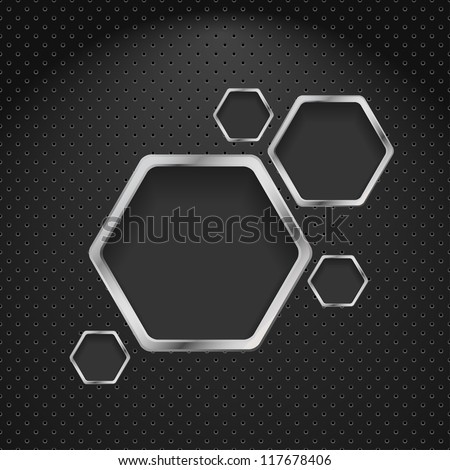 Abstract metal background with hexagons. Vector design template - stock vector