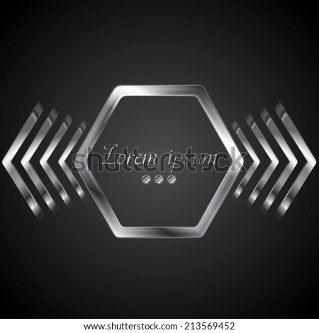 Abstract metal logo design with hexagon and arrows. Vector background - stock vector