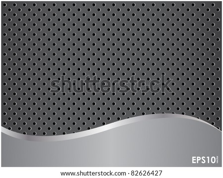 Abstract metallic background with a roughness and punched holes - stock vector