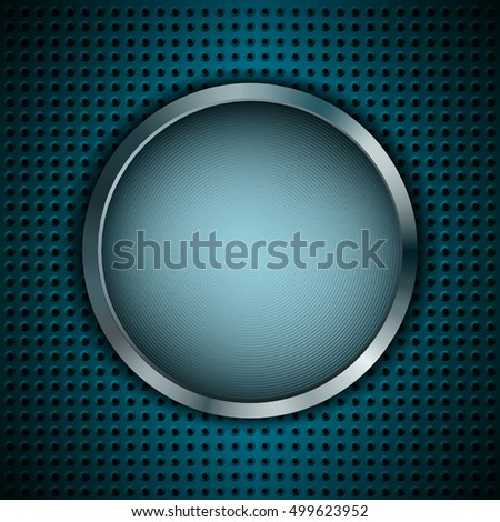 Abstract metallic background with round banner. Can use as blue button. Vector illustration.