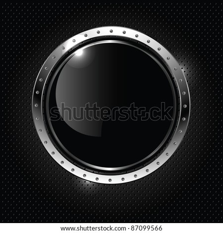 Abstract metallic background with round glossy banner, vector. - stock vector