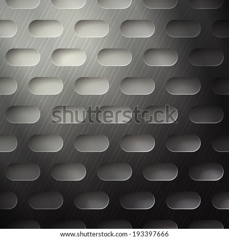 abstract metallic grate with rounded holes - stock vector