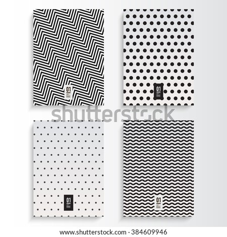 Abstract minimal black and white flyer or book cover design set with zig-zag and dots pattern background and your text  Eps 10 stock vector illustration  - stock vector