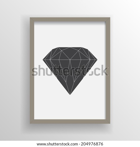 Abstract minimal black diamond design in wooden picture frame on a wall  Eps 10 stock vector illustration  - stock vector