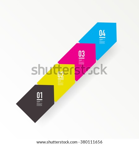 Abstract minimal CMYK color square text box design with numbers and your text can be used for workflow layout, number options, web design.  Eps 10 stock vector illustration - stock vector