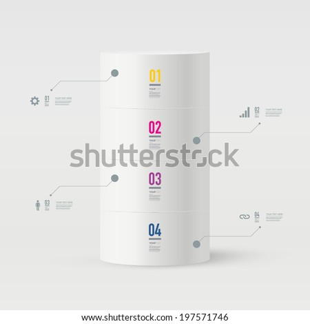 Abstract minimal 3D tube object design with your text and numbers can be used for workflow layout, chart, number options, presentation, web design.  Eps 10 stock vector illustration - stock vector