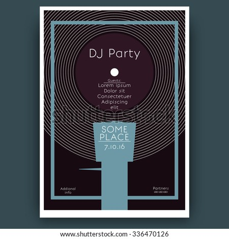 """Abstract minimalistic """"DJ party"""" electronic music concert poster. Design template with vinyl record in the turntable - stock vector"""