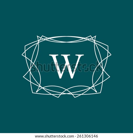 Abstract minimalistic hipster frame with letter W. Outline simple vector label - stock vector