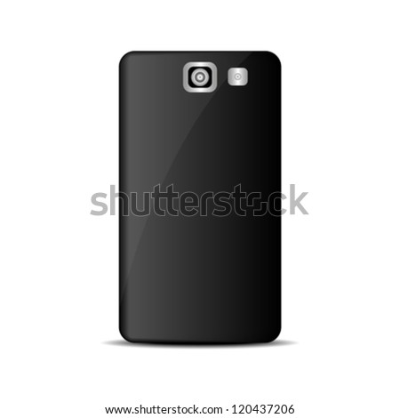 abstract mobile phone back view with camera and flash isolated on white background vector