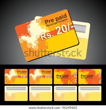 Abstract mobile recharge card isolated on grey background. - stock vector