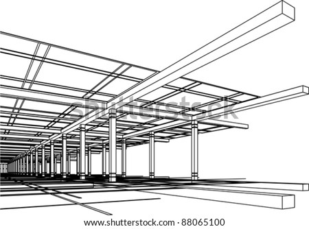 Abstract modern architecture design in 3D wire-frame - stock vector