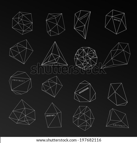 Abstract modern background with polygon, crystal design element, symbol, sign for tattoo - stock vector