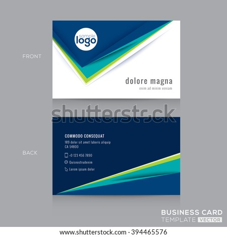 Abstract modern Blue Green Business card Design Template - stock vector