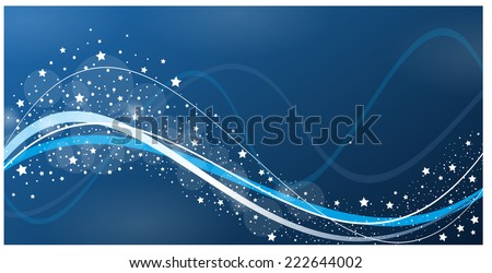 abstract modern christmas vector wave design in blue / christmas card / waves and stars  - stock vector