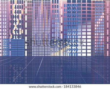 Abstract modern city, vector illustration - stock vector