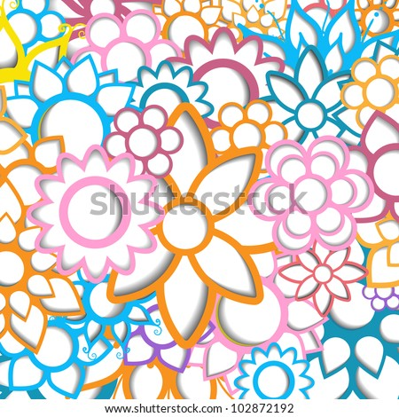 Abstract modern creative colorful vector summer 3d background with flower pattern set - stock vector