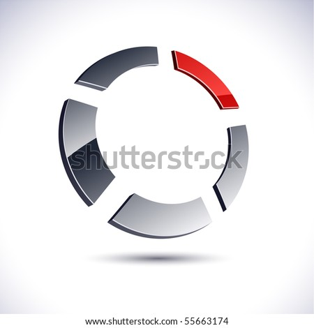 Abstract modern 3d ring logo. Vector. - stock vector