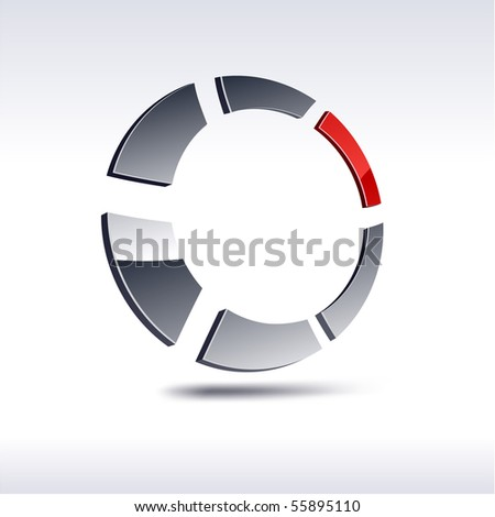 Abstract modern 3d round  icon. Vector. - stock vector