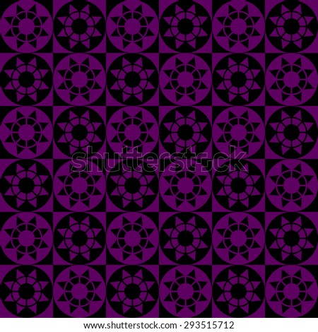 Abstract modern geometric seamless pattern with squares, circles and stars of black and violet colors - stock vector