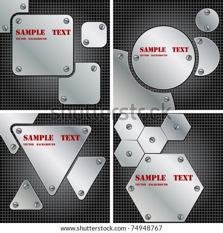 Abstract modern metal background with plates different shapes - stock vector