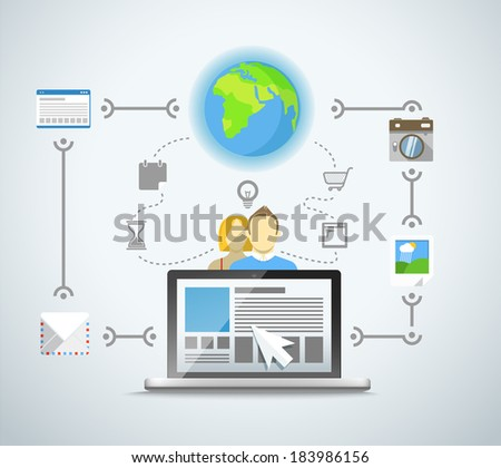 Abstract modern network scheme illustration - stock vector
