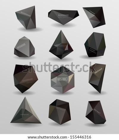 Abstract modern  polygonal bubble, label website header or banner vector set for website, info-graphics - stock vector