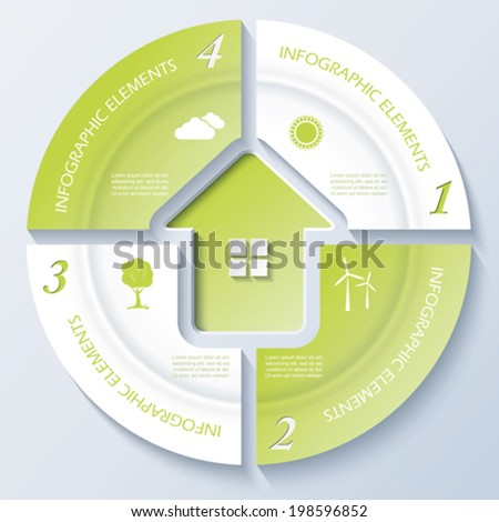 Abstract modern template for real estate business or presentation with circle and four segments. Vector illustration - stock vector