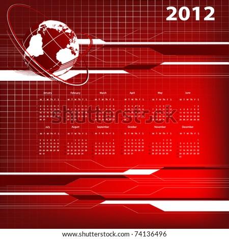abstract modern vector calendar 2012 with globe. Eps10 - stock vector