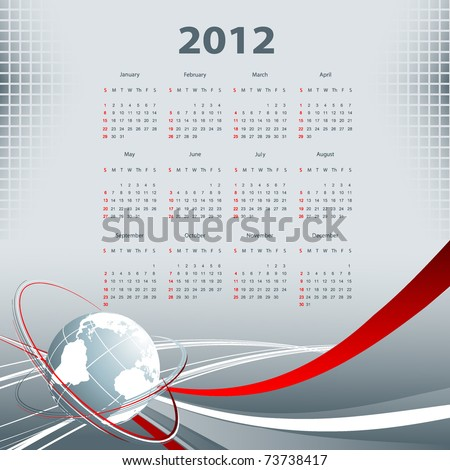abstract modern vector calendar 2012 with lines  and globe - stock vector