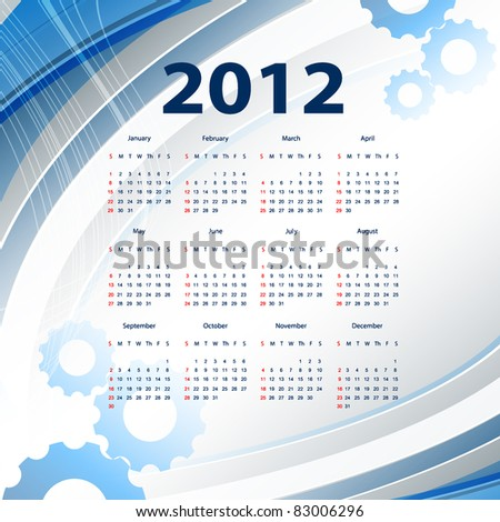 abstract modern vector calendar 2012 with lines. Eps10 - stock vector