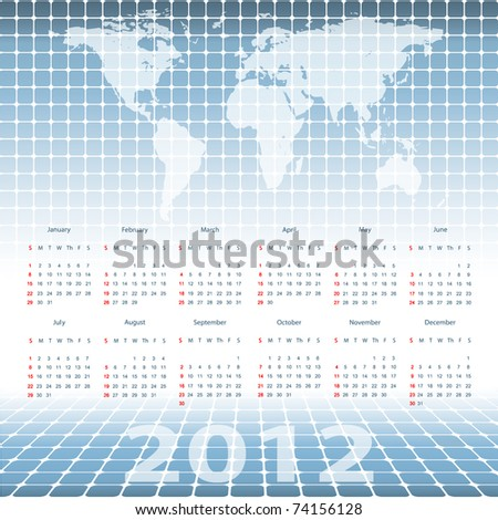 abstract modern vector calendar 2012 with mosaic and world map. Eps10 - stock vector