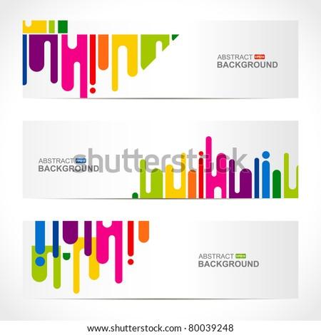 abstract modern website banner set vector design - stock vector