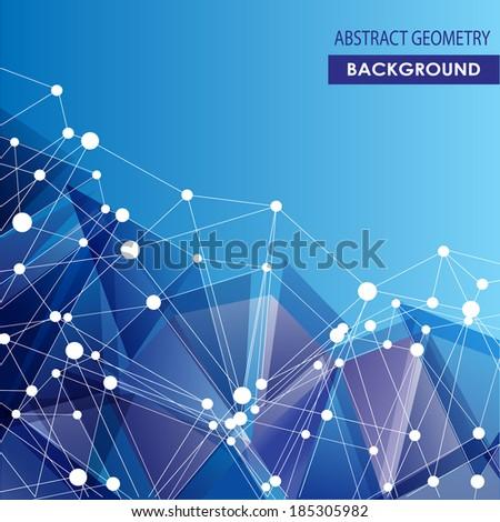 Abstract molecular connection vector concept. Polygonal blue background. - stock vector