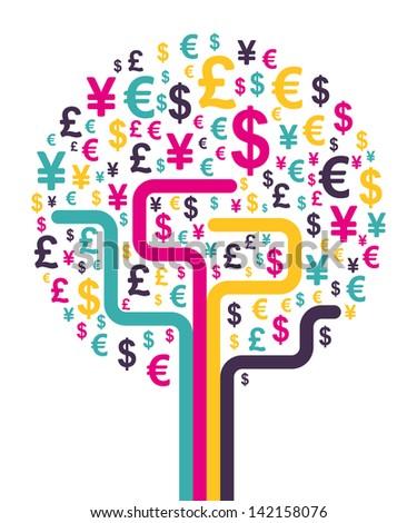Abstract money tree. Vector illustration. - stock vector