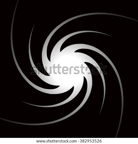 Abstract monochrome background with spirally, vortex shape. - stock vector