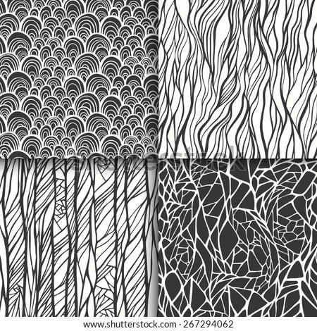Abstract monochrome black and white doodle seamless patterns set. Vector illustration - stock vector