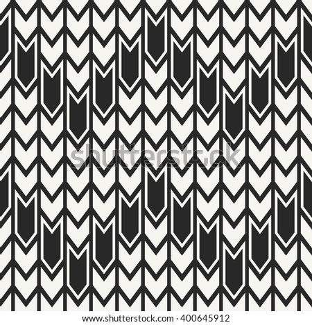 Abstract monochrome modern geometrical background with structure of repeating arrows - vector seamless pattern - stock vector