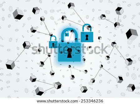 Abstract monocrhomatic network security design - stock vector