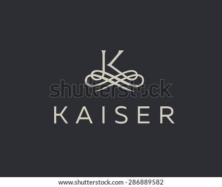 Abstract monogram elegant flower logo icon vector design. Universal creative premium letter K initials ornate signature symbol. Graceful vector sign. - stock vector