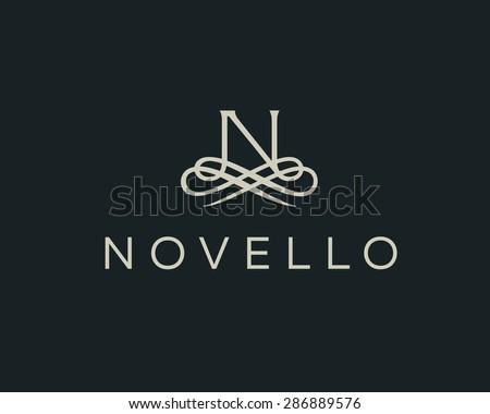 Abstract monogram elegant flower logo icon vector design. Universal creative premium letter N initials ornate signature symbol. Graceful vector sign. - stock vector