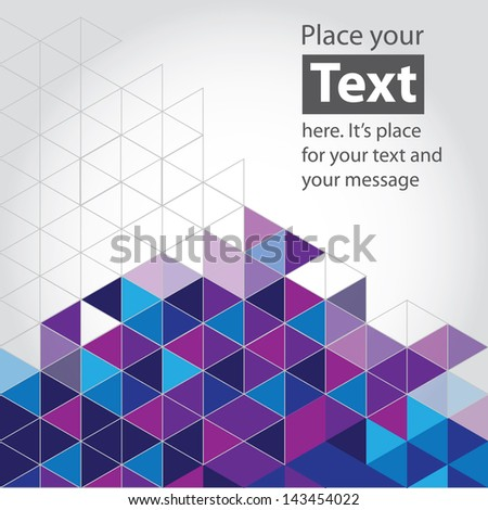 Abstract mosaic background. Blue and purple cubic geometric background. Design elements. Layered file - stock vector
