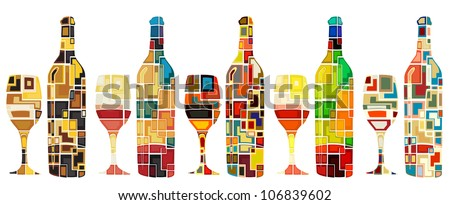 Abstract mosaic editable vector designs of wine bottles and glasses - stock vector
