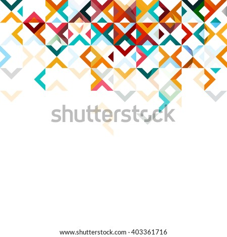 Abstract mosaic mix geometric pattern design, colorful tone on top part, vector illustration - stock vector