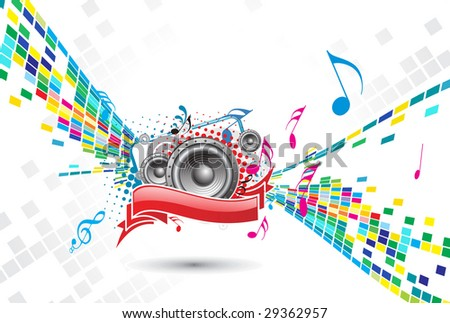 abstract mosaic vector composition with music background