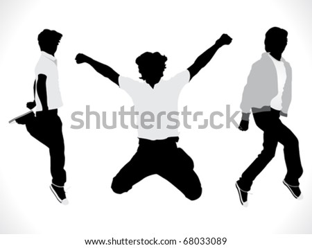 abstract motion silhouette of a boy vector illustration - stock vector